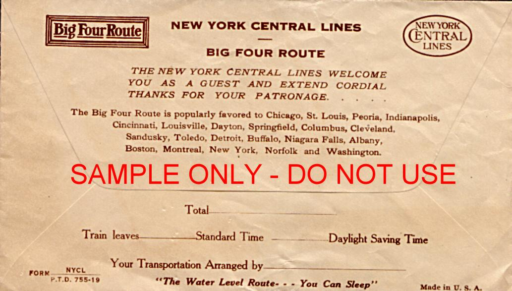 ny central rr big four envelope