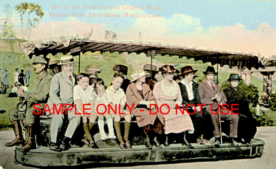 people loaded on cal tram 1910