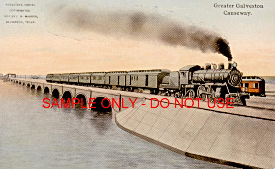 train on galveston causeway 1915