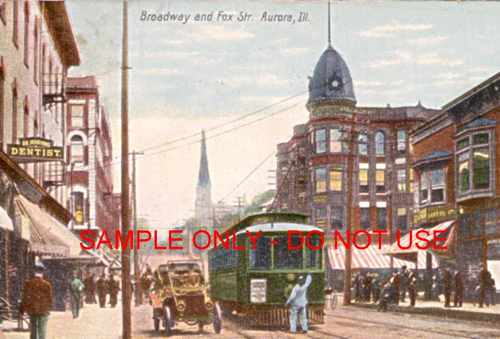 trolley and cars illinois 1910