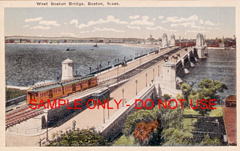 trolley trains boston bridge 1915